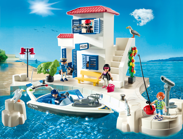 Playmobil 5128 Harbor Police Station and Boat