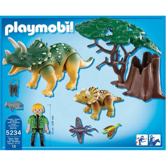 Playmobil 5234 Explorer and Triceratops with Baby Dinosaur