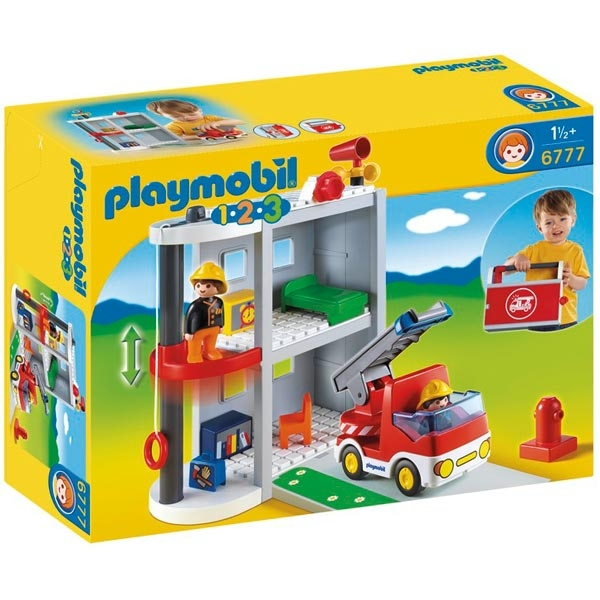 Playmobil 1 2 3 6777 Take Along Firestation and Fire Truck
